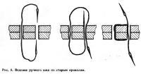 Рис. 8. Ведение ручного шва по старым проколам