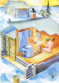 Рисунок и разрез бани