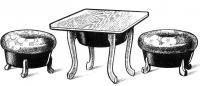 Рисунок стола и пуфиков