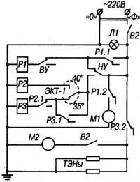 Схема автомата управления душем