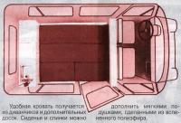 Схема салона в спальном положении