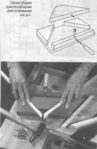 Схема сборки приспособления для склеивания «на ус»