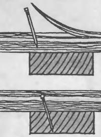 Скрытие гвоздя слоем древесины