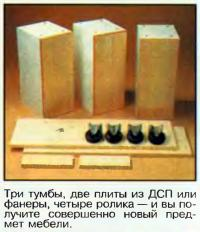 Три тумбы, две плиты из ДСП или фанеры, четыре ролика