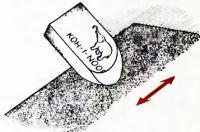 Заточка ластика шкуркой